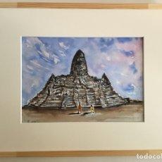 Arte: TEMPLO DE ANGKOR. CAMBOYA. ACUARELA SOBRE .36 CM X 25 CM. VER FOTOS.. Lote 36024111