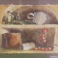 Arte: CUADRO ACUARELA FIRMADO CAMPS. SOBRE PAPEL HECHO A MANO.. Lote 169113769