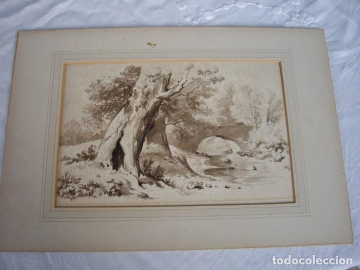 AGUADA ACUARELA,SIGLO XIX,MUCHA CALIDAD (Arte - Acuarelas - Modernas siglo XIX)