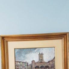Arte: INTERESANTE ACUARELA, CORRIDA DE TOROS EN PLAZA MAYOR. FIRMA POCO LEGIBLE. CIRCA 1970.. Lote 169344401