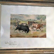Arte: ESCENA TAURINA POR JOSÉ SÁNCHEZ VÁZQUEZ (MÁLAGA 1902). Lote 169363988