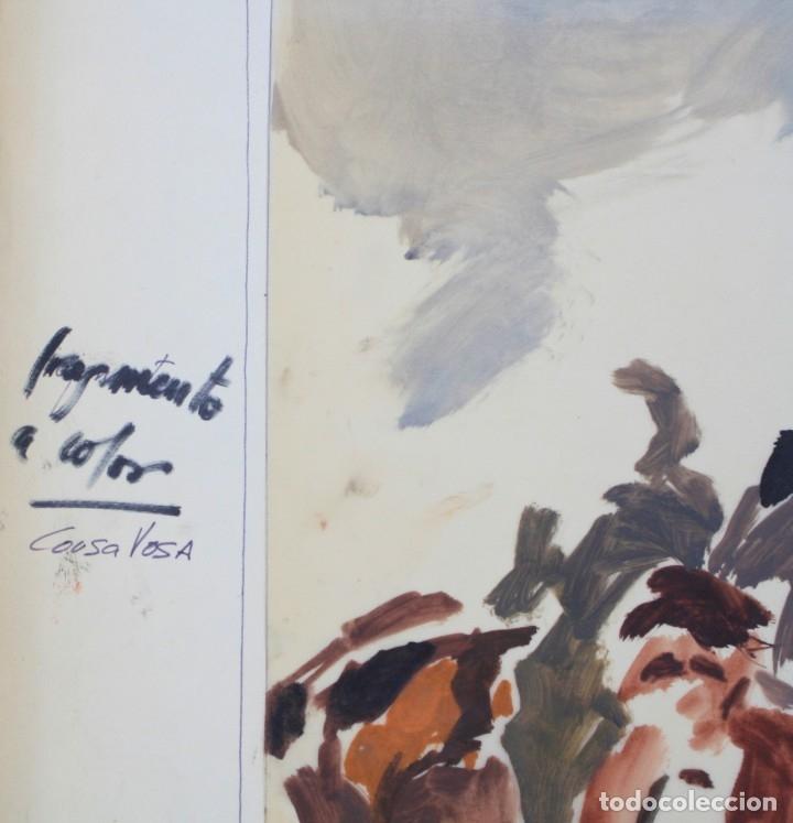 Arte: Gouache sobre papel vegetal, firmado Cousa Vosa, fragmento a color, artista por identificar. - Foto 2 - 169976292