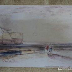 Arte: INTERESANTE ACUARELA ANTIGUA PERSONAJES FRENTE AL MAR FRANCIA OBRA SIN FIRMA . Lote 170015592