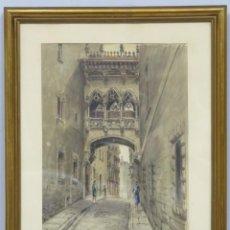 Arte: VISTA DE LA CALLE BISBE, BARRIO GOTICO BARCELONA. ACUARELA S/ PAPEL. FIRMADO HUERTAS H.. Lote 170125180