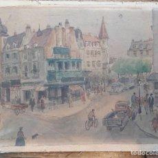 Arte: HENRI GRENIER (1882-1940) PINTOR FRANCÉS. DIBUJO ACUARELA SOBRE PAPEL PEGADO A CARTÓN.. Lote 170185384