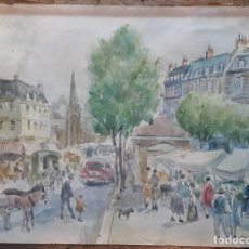 Arte: HENRI GRENIER (1882-1940) PINTOR FRANCÉS. DIBUJO ACUARELA SOBRE PAPEL PEGADO A CARTÓN.. Lote 170185696
