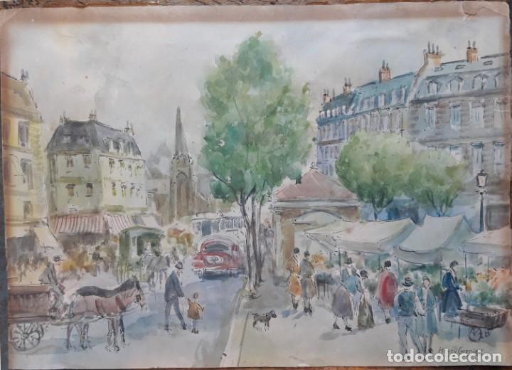 Arte: Henri GRENIER (1882-1940) Pintor Francés. Dibujo acuarela sobre papel pegado a cartón. - Foto 2 - 170185696