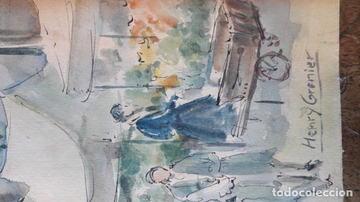 Arte: Henri GRENIER (1882-1940) Pintor Francés. Dibujo acuarela sobre papel pegado a cartón. - Foto 3 - 170185696