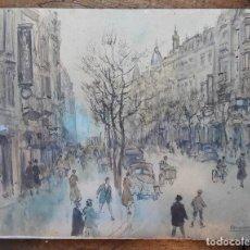 Arte: HENRI GRENIER (1882-1940). PINTOR FRANCÉS. DIBUJO ACUARELA SOBRE PAPEL PEGADO A CARTÓN.. Lote 170193484