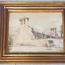 Arte: IGLESIA SANT PERE DE TARRASSA 1935 ACUARELA SOBRE PAPEL R. ARGILÉS.. Lote 170415034