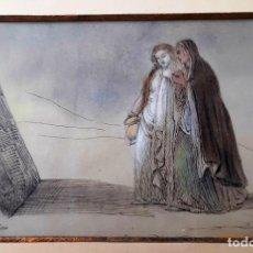 Arte: CORALIE ROUBION. DIBUJO DE ESCENOGRAFÍA DE HÉCUBA. TINTA Y ACUARELA. SIGLO XIX. Lote 170565172