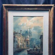 Arte: ACUARELA S XIX VENECIA VENICE VENEZIA MADRE PASEANDO HIJO IGLESIA 49X41CMS. Lote 171203450