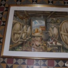 Arte: (M) MARIANO BRUNET ANTIGUA ACUARELA CELLER PLANA DE VIC - ENMARCADO 79X64 CM. . Lote 171342019