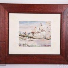 Arte: ACUARELA DE JOSEP CASTELLS TURÓN - VISTA DE PUEBLO - MEDIDAS 32,5 X 27,5 CM. Lote 171405329