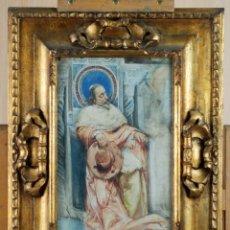 Art: CARDENAL DESCANSANDO ACUARELA SOBRE PAPEL MARCO MADERA TALLADA Y DORADA SIGLO XIX. Lote 171419390