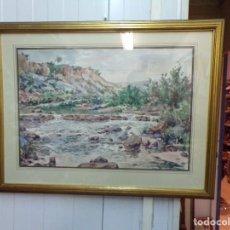 Arte: ACUARELA JOAN PELFORT IGUALADA , RIO MONTAÑA, BUEN MARCO DORADO. Lote 171494502