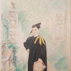 Arte: ESCUELA CATALANA (XIX) - NIÑO CON TUNA I PANDERETA.ACUARELA Y GUACHE/PAPEL.FIRMADO BERTRAN.1899.. Lote 171631629