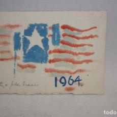 Arte: FELICITACIÓN DE NAVIDAD - 1964 - AQUARELA - BANDERA.. Lote 171717405