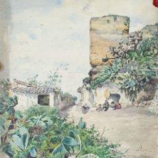 Arte: CALLE DE GRANADA. ACUARELA SOBRE PAPEL. JULIAN DEL POZO Y LA ORDEN. SIGLO XIX-XX. Lote 171851893