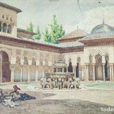 Arte: PATIO DE LOS LEONES. GRANADA. ACUARELA SOBRE PAPEL. JULIAN DEL POZO. SIGLO XIX-XX. Lote 171860728