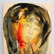 Arte: FELICITACIÓN DE NAVIDAD - ACUARELA - ROSTRO FEMENINO.. Lote 171969380