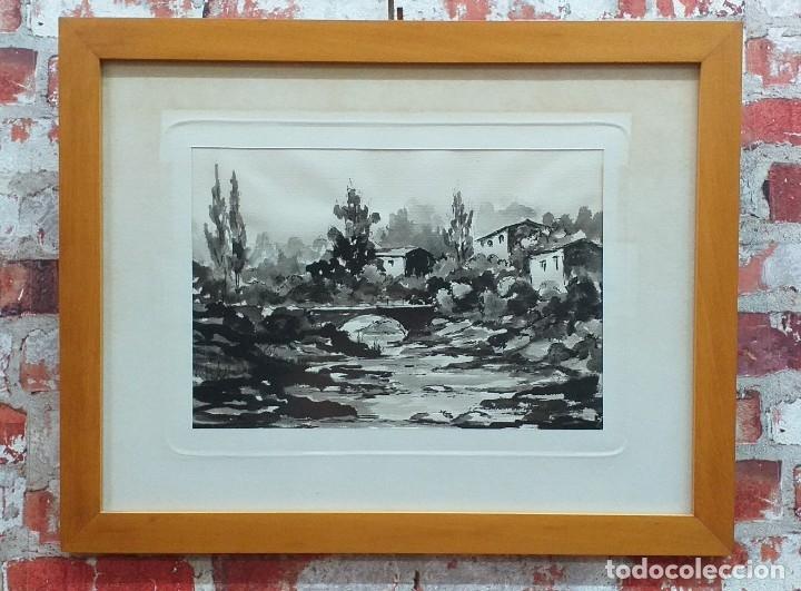 ACUARELA FIRMADA EDUARD LÓPEZ MEDIADOS SIGLO XX (Arte - Acuarelas - Contemporáneas siglo XX)