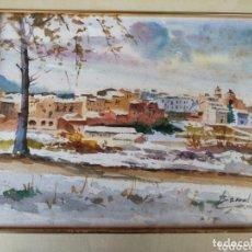Arte: ACUARELA PAISAJE PANORÁMICA PUEBLO NEVADO- FIRMADO BARRAL R., ENMARCADO 43X37CM.. Lote 172249204