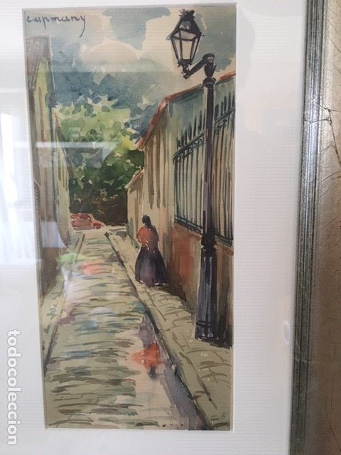BONITA CALLE ANDALUZA DE RAMÓN DE CAPMANY I DE MONTANER (Arte - Acuarelas - Contemporáneas siglo XX)