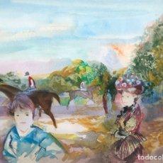 Arte: EMILIO GRAU SALA - HÍPICA -ACUARELA. Lote 172652817