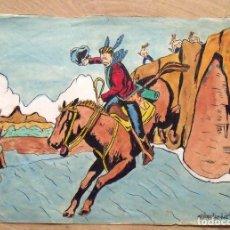 Arte: SILVESTRE RÍOS LÓPEZ. DIBUJO ACUARELA INDIOS Y COWBOYS. FIRMADO Y DATADO 15-5-1946.. Lote 172701770
