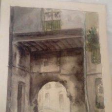 Arte: RODRIGUEZ PESCADOR PORTAL DE VALLDIGNA ,VALENCIA ACUARELA. Lote 172758570