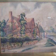 Arte: ACUARELA DE S. H. BARNETT. ÚNICA. STONELEIGH VILLAGE. 1933. FIRMADO. Lote 172764708