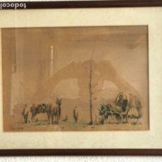 Arte: ELEGANTE ACUARELA SOBRE PAPEL - PAISAJE DE CAMPO FIRMADA DESCONOCEMOS AUTOR. . Lote 173045259