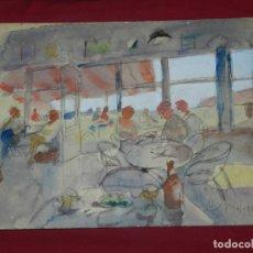 Arte: (M) ACUARELA DE JOSEP MOSCARDÓ (BARCELONA 1953) ACUARELA 39X28CM, SEÑALES DE USO NORMALES. Lote 173231577