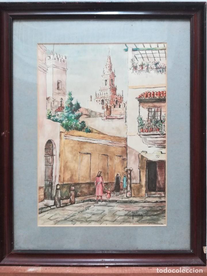 CALLES DE SEVILLA, ESTA FIRMADA , (Arte - Acuarelas - Contemporáneas siglo XX)
