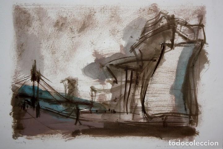 JAVIER MONTESOL (BARCELONA, 1952) ACUARELA SOBRE PAPEL FECHADA DEL AÑO 2004.VISTA URBANA. 34 X 50 CM (Arte - Acuarelas - Contemporáneas siglo XX)