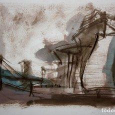 Arte: JAVIER MONTESOL (BARCELONA, 1952) ACUARELA SOBRE PAPEL FECHADA DEL AÑO 2004.VISTA URBANA. 34 X 50 CM. Lote 173516957