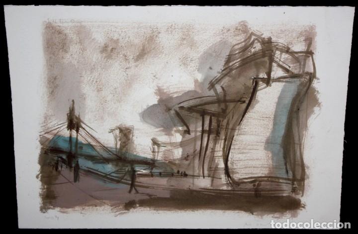 Arte: JAVIER MONTESOL (Barcelona, 1952) ACUARELA SOBRE PAPEL FECHADA DEL AÑO 2004.VISTA URBANA. 34 X 50 CM - Foto 2 - 173516957