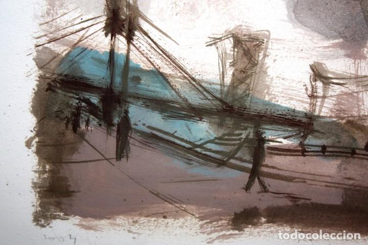 Arte: JAVIER MONTESOL (Barcelona, 1952) ACUARELA SOBRE PAPEL FECHADA DEL AÑO 2004.VISTA URBANA. 34 X 50 CM - Foto 3 - 173516957