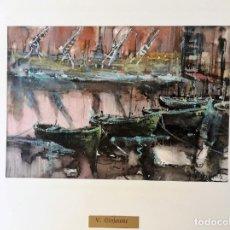 Arte: VICENS GINJAUME. ACUARELA . ZONA PORTUARIA.. Lote 173635272