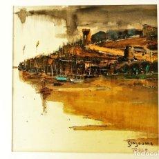 Arte: VICENS GINJAUME. ACUARELA . TOSSA DE MAR. Lote 173635915