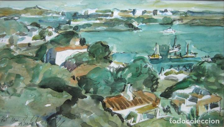 Arte: Bella acuarela original Port Mao Menorca firmada A. Moll - Foto 2 - 174105068