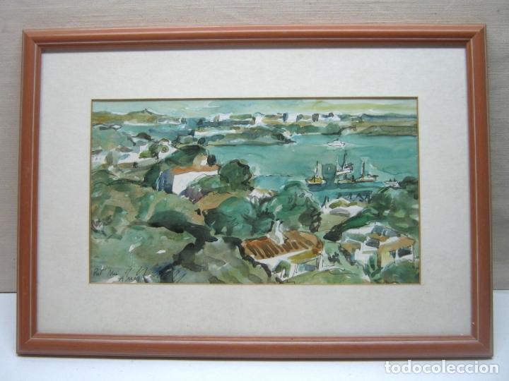 BELLA ACUARELA ORIGINAL PORT MAO MENORCA FIRMADA A. MOLL (Arte - Acuarelas - Contemporáneas siglo XX)