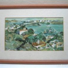 Arte: BELLA ACUARELA ORIGINAL PORT MAO MENORCA FIRMADA A. MOLL. Lote 174105068
