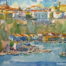 Arte: BELLA PINTURA ACUARELA PORT MAO FIRMADA - A.MOLL MAHON MENORCA. Lote 174130660