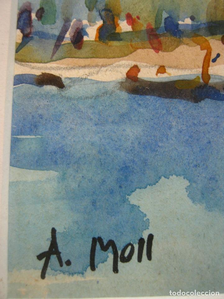 Arte: Bella pintura acuarela Port Mao firmada - A.Moll Mahon Menorca - Foto 2 - 174130660