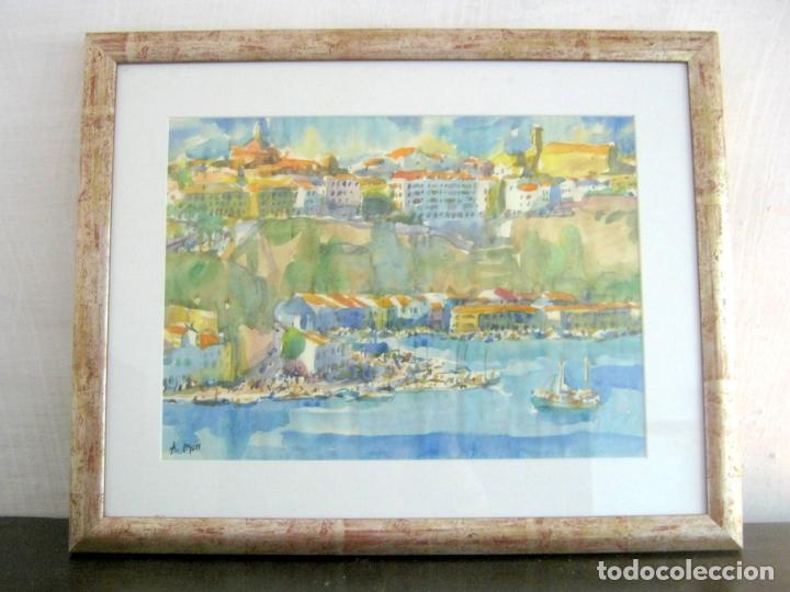 Arte: Bella pintura acuarela Port Mao firmada - A.Moll Mahon Menorca - Foto 3 - 174130660