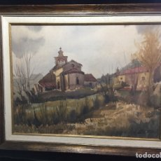 Arte: ERMITA, ANTIGUA ACUARELA FIRMADA Y ENMARCADA. Lote 174210653