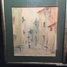 Arte: CALLE DE PUEBLO, ANTIGUA ACUARELA FIRMADA Y ENMARCADA. Lote 174212023