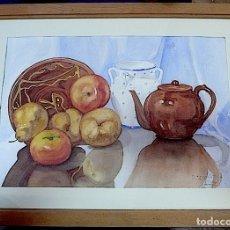 Arte: BODEGON ACUARELA FIRMADO Y FECHADO. Lote 174223503